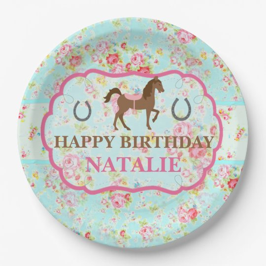 Shabby Chic Cowgirl Floral Pony Paper Plate  sc 1 st  Zazzle & Shabby Chic Cowgirl Floral Pony Paper Plate   Zazzle.com