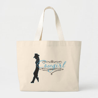 """Shabby Chic """"Cowgirl"""" Frills in Blue Large Tote Bag"""