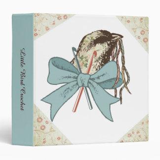 Shabby chic crochet hooks yarn bird ribbon bow vinyl binders
