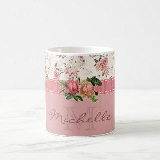 Shabby Chic Custom Name & Monogram Floral Classic White Coffee Mug