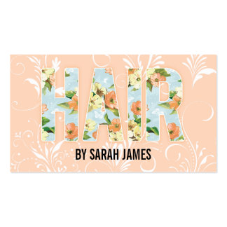 shabby chic cute floral hair stylist pink girly business card template