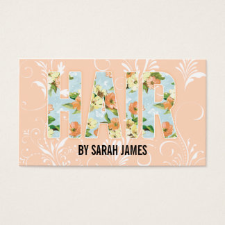 shabby chic cute floral hair stylist pink girly business card