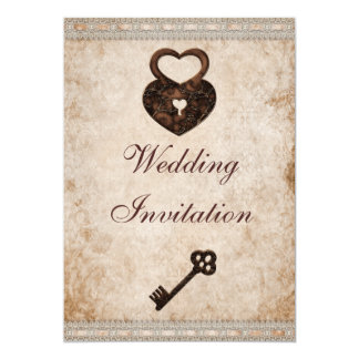 Shabby Chic Damask Hearts Lock and Key Wedding Card