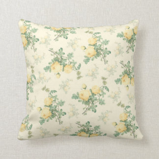 Shabby chic decor floral throw pillow yellow rose