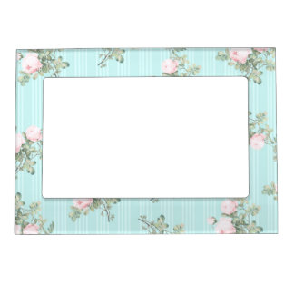Shabby chic decor magnetic frame pink and mint