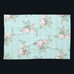"""Shabby chic decor roses floral kitchen towel<br><div class=""""desc"""">Shabby chic decor roses floral kitchen towel ,  pink and mint.</div>"""