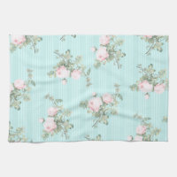 Shabby chic decor roses floral kitchen towel