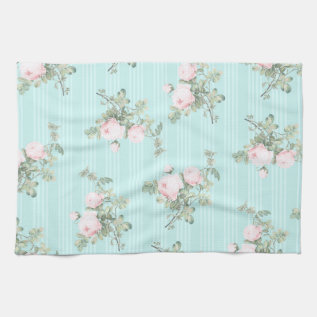 Shabby Chic Decor Roses Floral Kitchen Towel at Zazzle