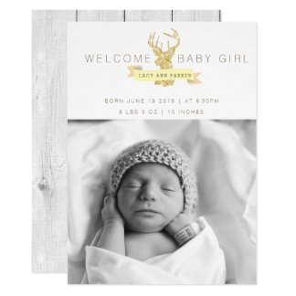 Shabby Chic Deer Birth Announcement Photo