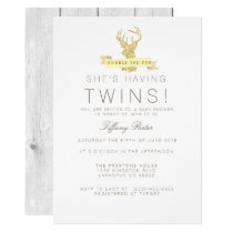 Shabby Chic Deer Twins Baby Shower Invitation