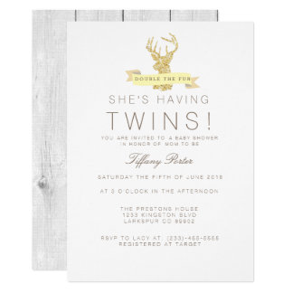 Shabby Chic Deer Twins Baby Shower Invitation