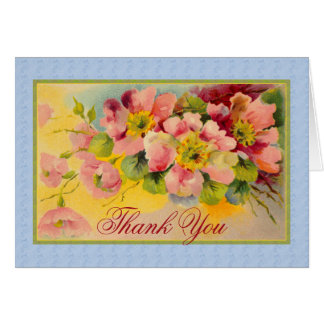 Shabby Chic Dog Rose Thank You Floral Card