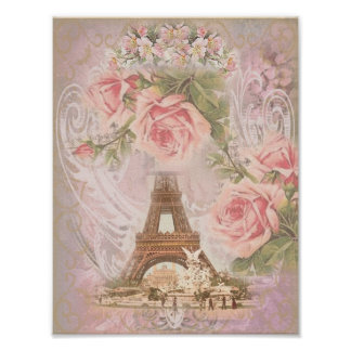 Shabby Chic Eiffel Tower and Roses Poster