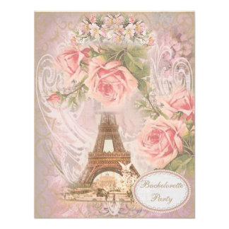 Shabby Chic Eiffel Tower Bachelorette Party Personalized Invite