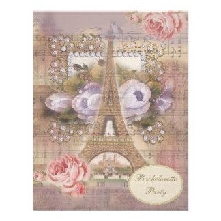 Shabby Chic Eiffel Tower Bachelorette Party Custom Invitations