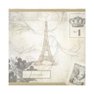 Shabby Chic Eiffel Tower Collage Canvas Print