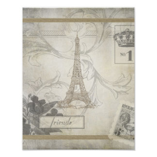 Shabby Chic Eiffel Tower Collage Poster
