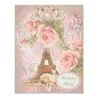 Shabby Chic Eiffel Tower Floral Birthday Party Card