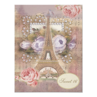 Shabby Chic Eiffel Tower Floral Sweet 16 Card