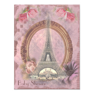 Shabby Chic Eiffel Tower Pink Floral Baby Shower Card