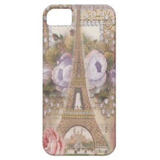 Shabby Chic Eiffel Tower Pink Floral Collage iPhone 5 Covers