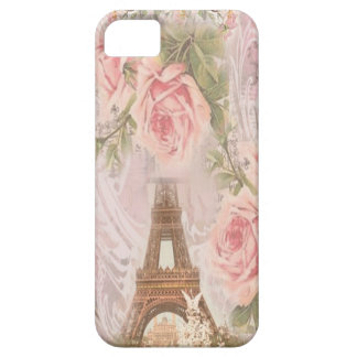 Shabby Chic Eiffel Tower Pink Floral Collage iPhone 5 Cases