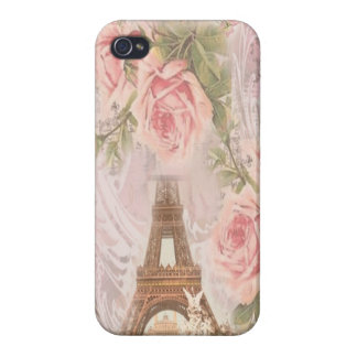 Shabby Chic Eiffel Tower Pink Floral Collage Case For iPhone 4