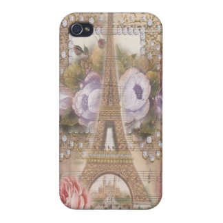 Shabby Chic Eiffel Tower Pink Floral Collage Cover For iPhone 4