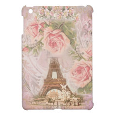 Shabby Chic Eiffel Tower Pink Floral Collage iPad Mini Covers