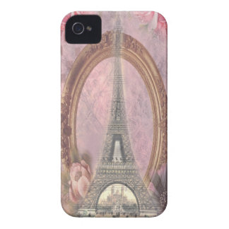Shabby Chic Eiffel Tower Pink Floral Collage iPhone 4 Case