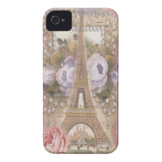 Shabby Chic Eiffel Tower Pink Floral Collage iPhone 4 Cover