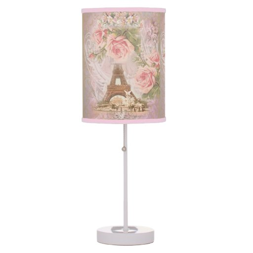 Shabby Chic Eiffel Tower Pink Floral Collage Table Lamps Zazzle