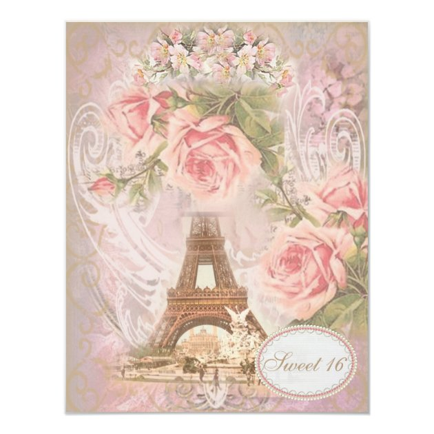 Shabby Chic Eiffel Tower Pink Floral Sweet 16 Card