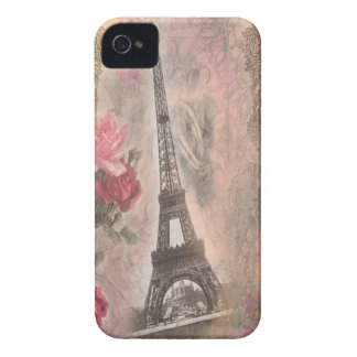 Shabby Chic Eiffel Tower Pink Roses Collage Case-Mate iPhone 4 Case