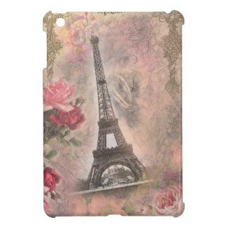 Shabby Chic Eiffel Tower Pink Roses Collage iPad Mini Cover