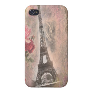 Shabby Chic Eiffel Tower Pink Roses Collage iPhone 4/4S Cover