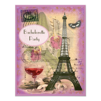 Shabby Chic Eiffel Tower & Red Wine Bachelorette Card