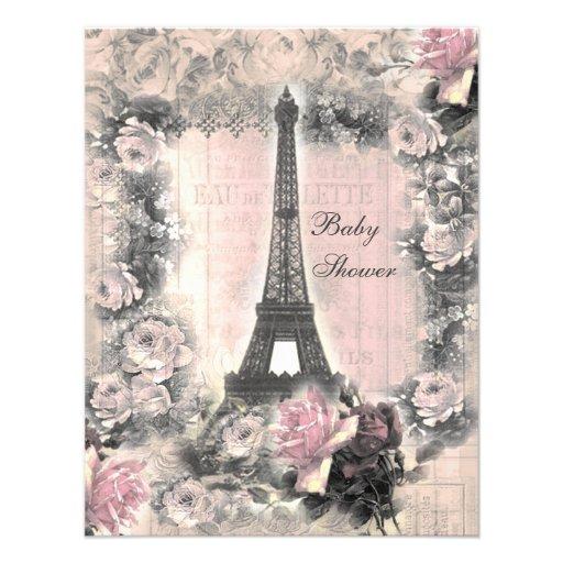 Shabby Chic Eiffel Tower & Roses Baby Shower Custom Invitations