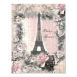Shabby Chic Eiffel Tower & Roses Baby Shower 4.25x5.5 Paper Invitation Card