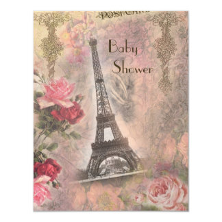 Shabby Chic Eiffel Tower & Roses Baby Shower Announcement