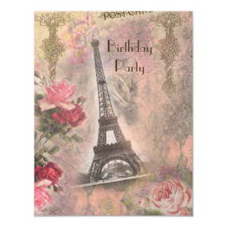 Shabby Chic Eiffel Tower & Roses Birthday Party Card
