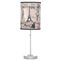 Shabby Chic Eiffel Tower & Roses in Pink & Black Table Lamp
