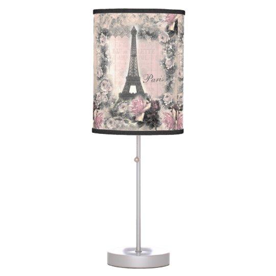 Shabby Chic Eiffel Tower U0026 Roses In Pink U0026 Black Table Lamp