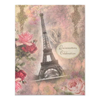 Shabby Chic Eiffel Tower & Roses Quinceanera 4.25x5.5 Paper Invitation Card