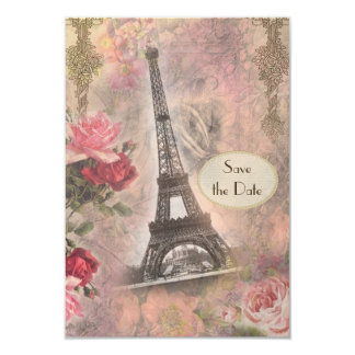 Shabby Chic Eiffel Tower & Roses Save the Date 3.5x5 Paper Invitation Card