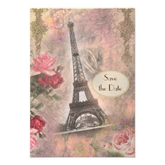 Shabby Chic Eiffel Tower Roses Save the Date Personalized Invitation