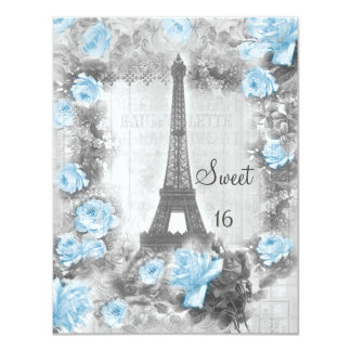 "Shabby Chic Eiffel Tower & Roses Sweet 16 4.25"" X 5.5"" Invitation Card"