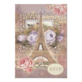 Shabby Chic Eiffel Tower RSVP 3.5x5 Paper Invitation Card