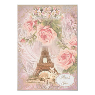 Shabby Chic Eiffel Tower Thank You Wedding Card