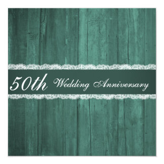 "Shabby Chic Emerald Wood Wedding Anniversary 5.25"" Square Invitation Card"